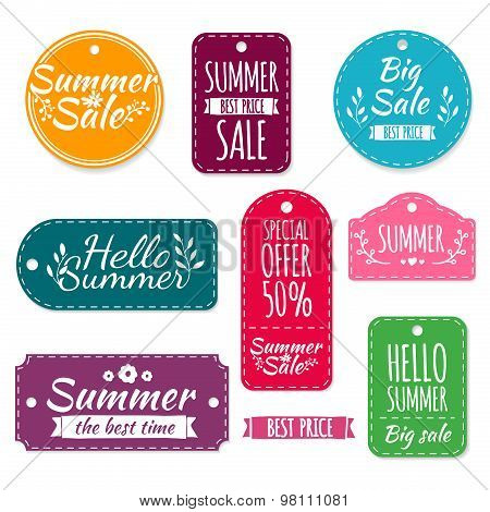 Set of colored summer stickers, labels, labels, coupons. Spring discounts, promotions, offers. Vecto