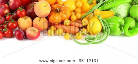 Heap of fresh fruits and vegetables  isolated on white poster