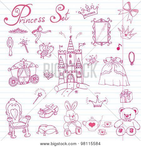 Hand drawn vector illustration set of princess sign Castel throne and carriage magic wand mirror stuffed toy croun and jewlery cute items doodles elements. poster