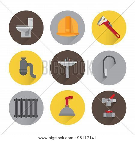 Set plumbing icons. Tools equipment and plumbing elements flat. adjustable wrench valve fittings shower toilet faucet. Background white. poster