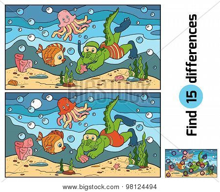 Education Game: Find Differences (crocodile Diver, Ocean Floor)