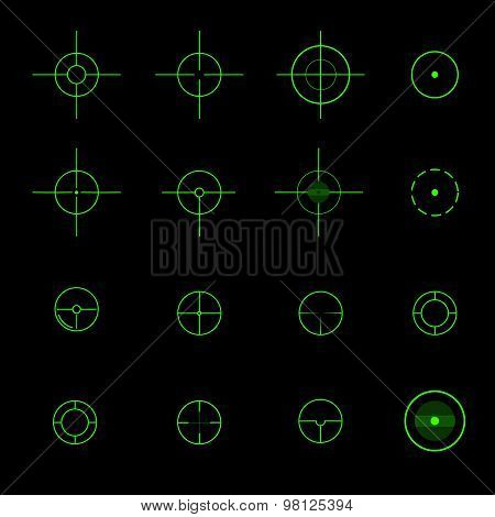 Set of  different vector crosshairs.