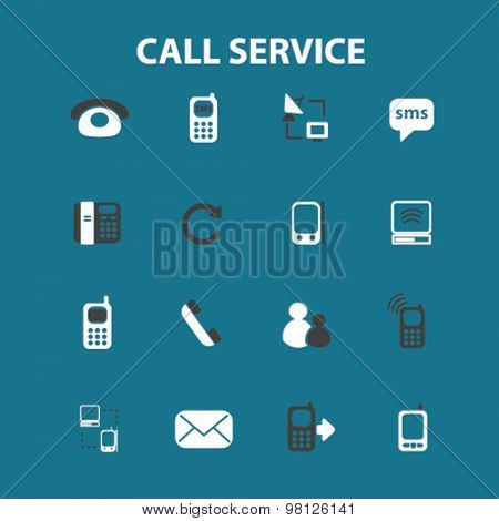 call customer service flat isolated icons, signs, illustrations set, vector for web, application