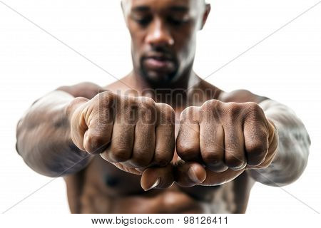 Man Showing Fists and Knuckles