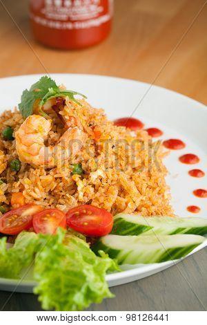 Sriracha Fried Rice with Shrimp