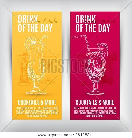 Vector banners set  with hand drawn cocktails.