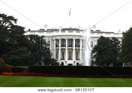The South Lawn Of The White House On White Background, Washington D.C. Usa
