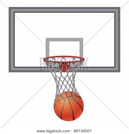 Basketball Through Net With Backboard
