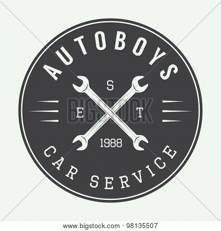 Vintage Mechanic Label, Emblem And Logo.