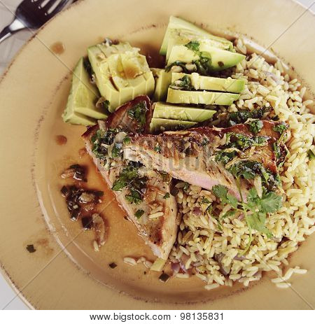 Ahi Tuna Steak With Rice and Avocado