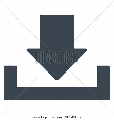 Download icon from Primitive Set. This isolated flat symbol is drawn with smooth blue color on a white background, angles are rounded. poster