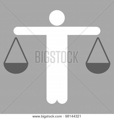 Lawyer icon from Business Bicolor Set. This flat vector symbol uses dark gray and white colors, rounded angles, and isolated on a silver background. poster