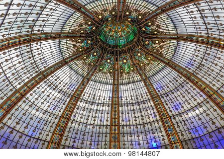 Glass Roof Lafayette Department Store In Paris, France