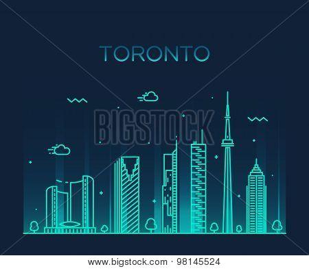 Toronto skyline trendy vector illustration linear