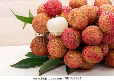 Litchi Chinensis In The Wooden Box