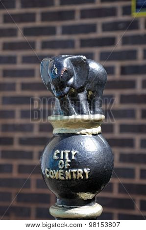 City of Coventry bollard featuring an elephant atop along Spon Street Coventry West Midlands England UK Western Europe. poster