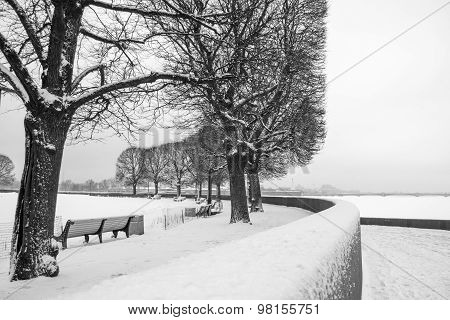 """""""The spit of Vasilyevsky island"""" in St. Petersburg in the winter. Winter landscape in the city center. poster"""
