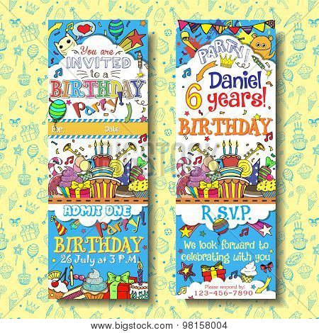 Vector birthday party invitation pass ticket design. Face and back sides with doodles background