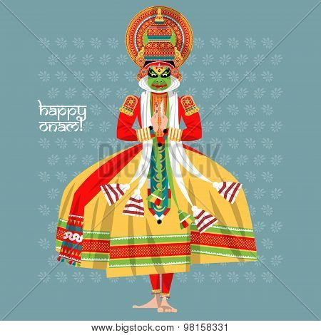 Decorated Indian Kathakali Dancer. Happy Onam.