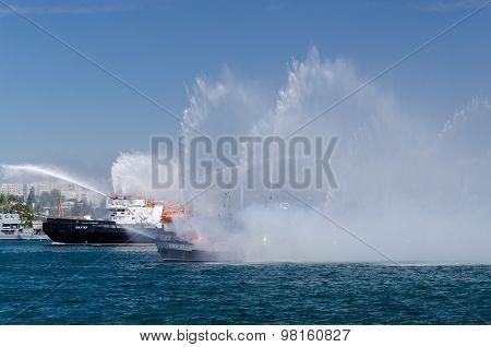 Sevastopol, Ukraine - July 26, 2013, Rehearsal, Fireboat, Writing On The Board - Miner
