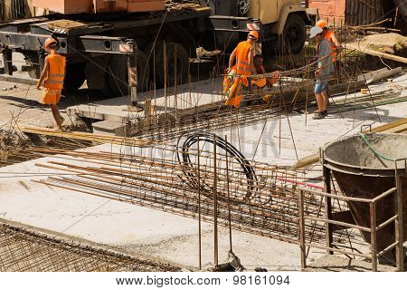 Pouring the concrete foundation of the building site shopping