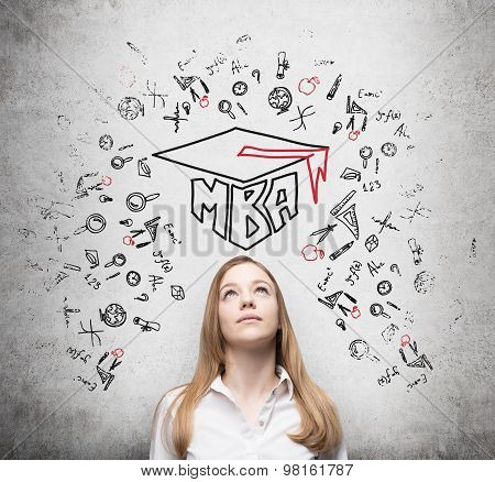 Young Lady Is Thinking About Mba Degree. Drawn A Graduation Hat And The Range Of Educational Icons O