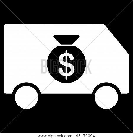 Collector Car icon from Commerce Set. Vector style: flat symbol, white color, rounded angles, black background. poster