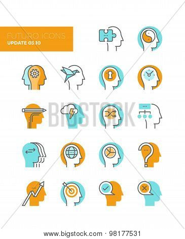 Abstract Human Heads Line Icons