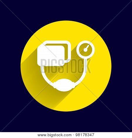 Tonometer flat Icon. Blood Pressure Checker medical