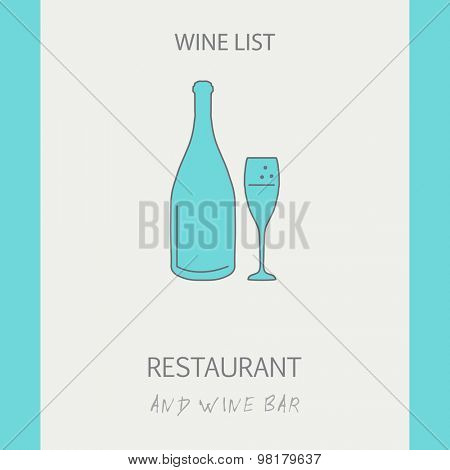 Wine List Card Design. Thin line illustration of champagne bottle and glass