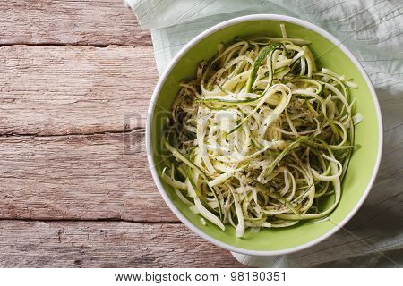 Useful Raw Zucchini Pasta In A Bowl Close Up. Horizontal Top View