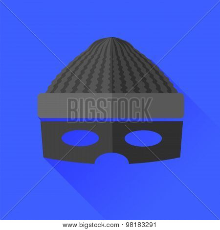 Thief Icon Isolated on Blue Background. Long Shadow. poster