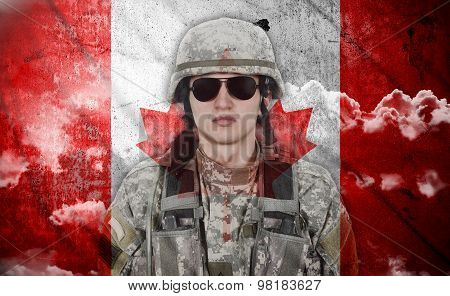 Soldier And Canada Flag