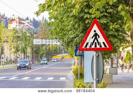 Warning Sign For Pedestrian Crossing