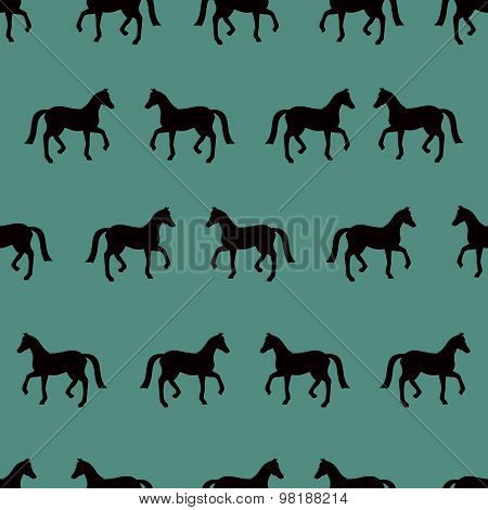 Vector Seamless Pattern With Black Horses Silhouettes