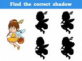 Find the correct shadow game for children (little girl fairy) poster