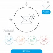 Mail inbox icon. Email message sign. Download arrow symbol. Line circle buttons. Download arrow symbol. Vector poster