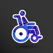 handicapped chair wheelchair invalid transport logo icon. poster