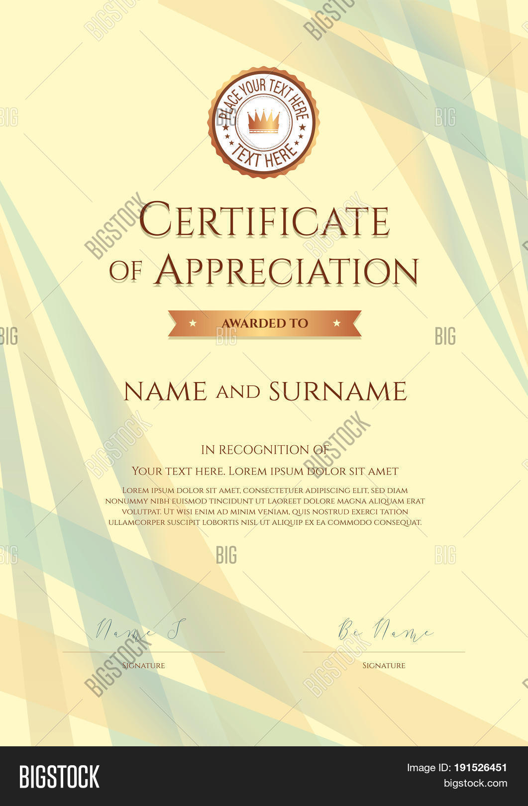 Portrait certificate appreciation vector photo bigstock portrait certificate of appreciation template with award ribbon on abstract ribbon background yelopaper Images