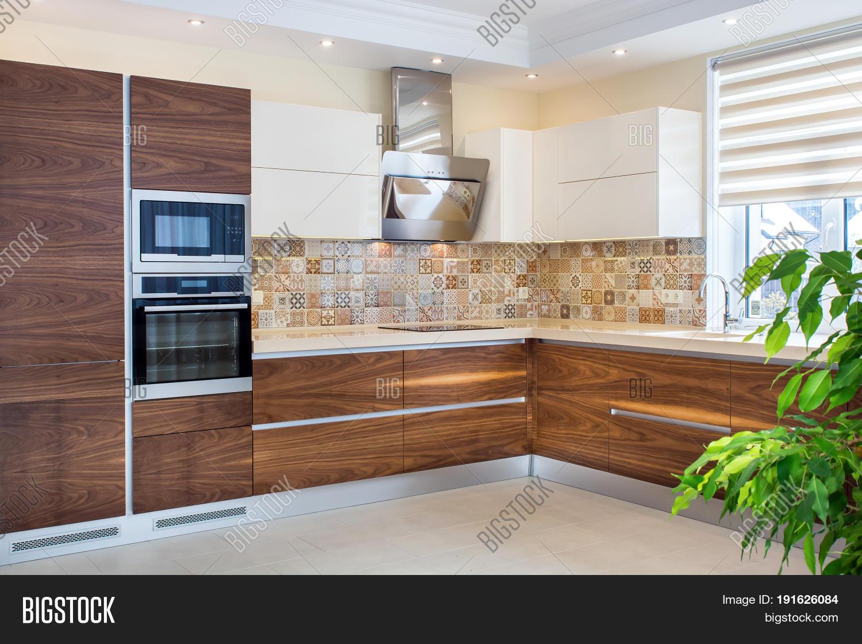 Modern home interior modern design of the kitchen in a bright interior kitchen and