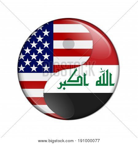 USA and Iraq working together The US flag and Iraqi flag on a yin yang symbol isolated over white 3D Illustration