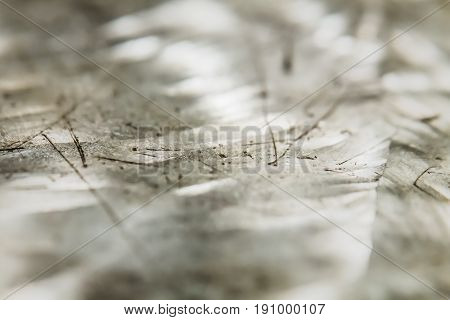 Abstract faceted crystallized background. Metal crystal design. Selective focus