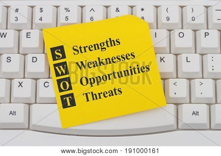 SWOT analysis on the internet A close-up of a keyboard with note with text SWOT Strengths Weaknesses Opportunities Threats