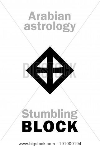 Astrology Alphabet: stumbling BLOCK (Stone), Arabian point of horoscope. Hieroglyphics character sign (single symbol).