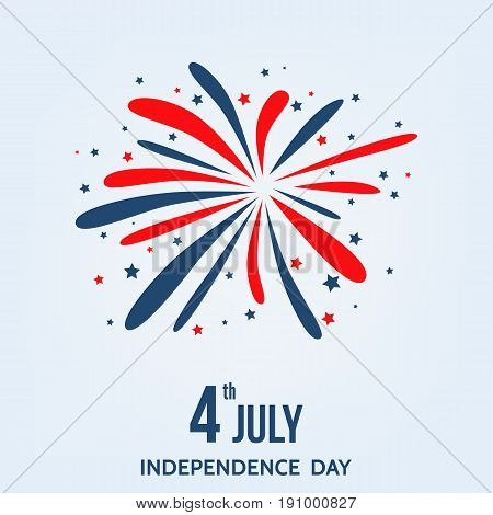 Happy  Independence  Day Of  The  Usa  Card  With  Firework.