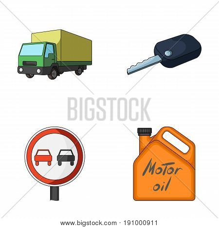 Truck with awning, ignition key, prohibitory sign, engine oil in canister, Vehicle set collection icons in cartoon style vector symbol stock illustration .