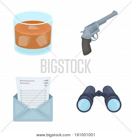 A glass of whiskey, a gun, binoculars, a letter in an envelope.Detective set collection icons in cartoon style vector symbol stock illustration .