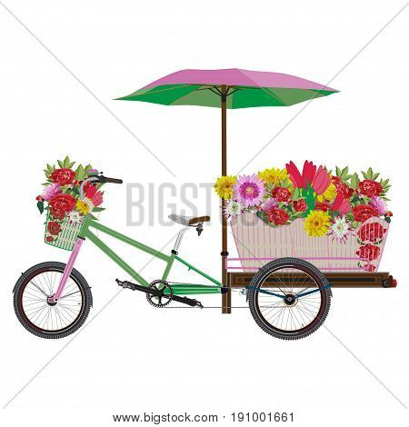Vector illustration of tricycles flower bike isolated on white background. Mobile flower bike business template in flat style.