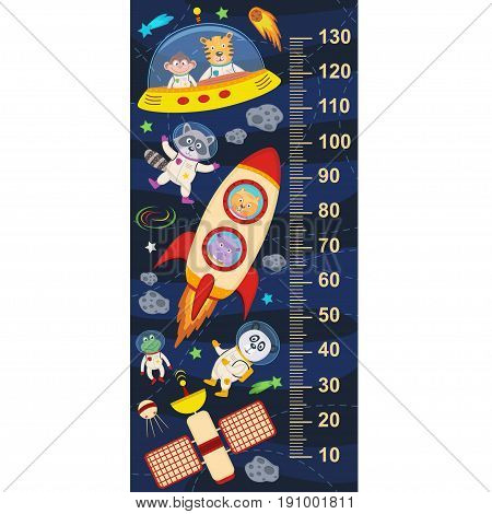 growth measure with animals in cosmos- vector illustration, eps