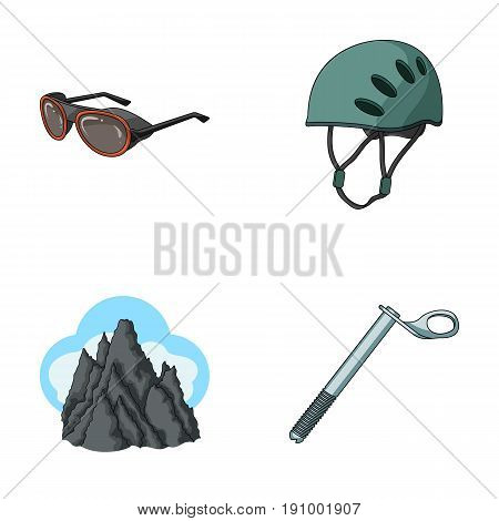 Helmet, goggles, wedge safety, peaks in the clouds.Mountaineering set collection icons in cartoon style vector symbol stock illustration .